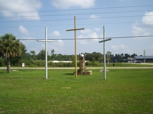 Three Crosses in front
